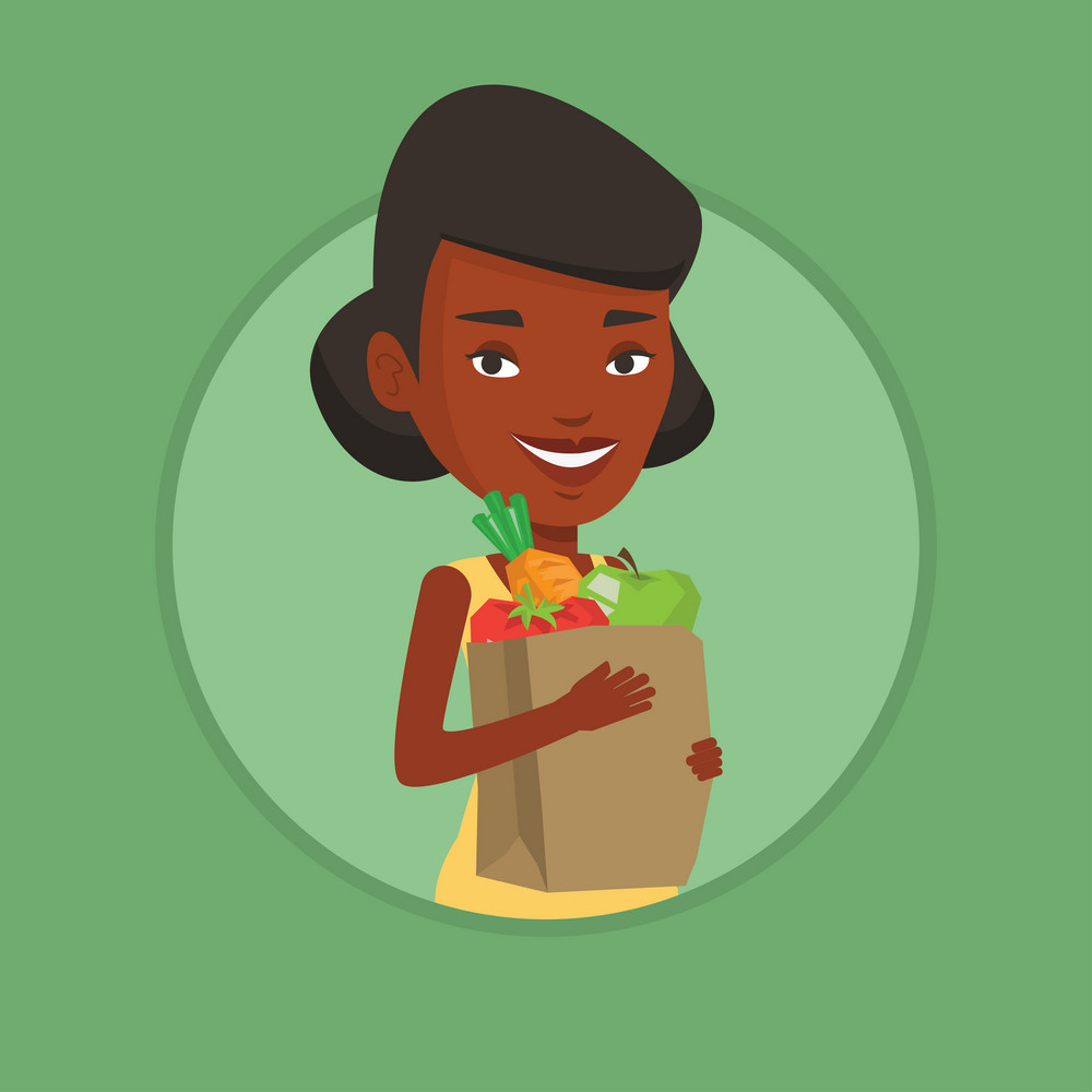 African-american woman carrying grocery shopping bag with vegetables. Young woman holding grocery shopping bag with healthy food. Vector flat design illustration in the circle isolated on background.