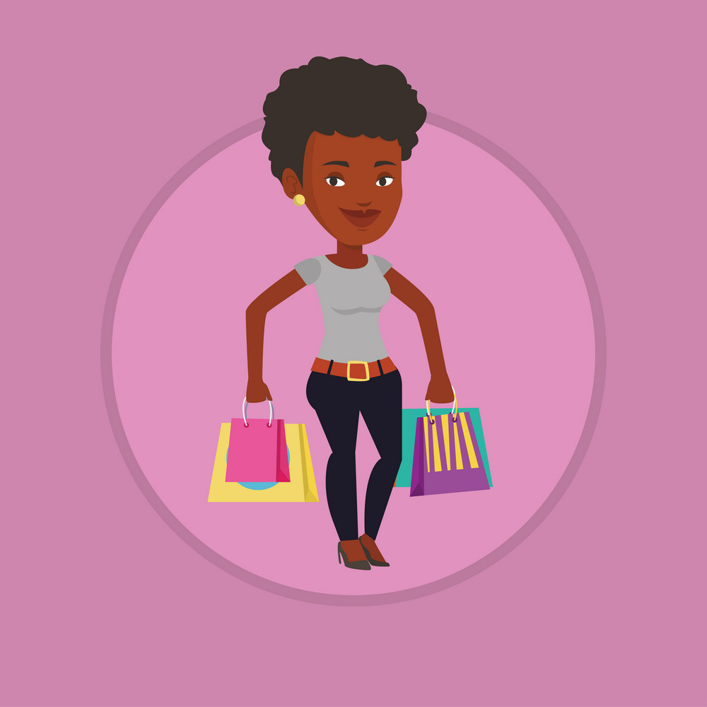 African-american woman carrying shopping bags. Smiling woman holding shopping bags. Woman standing with a lot of shopping bags. Vector flat design illustration in the circle isolated on background.