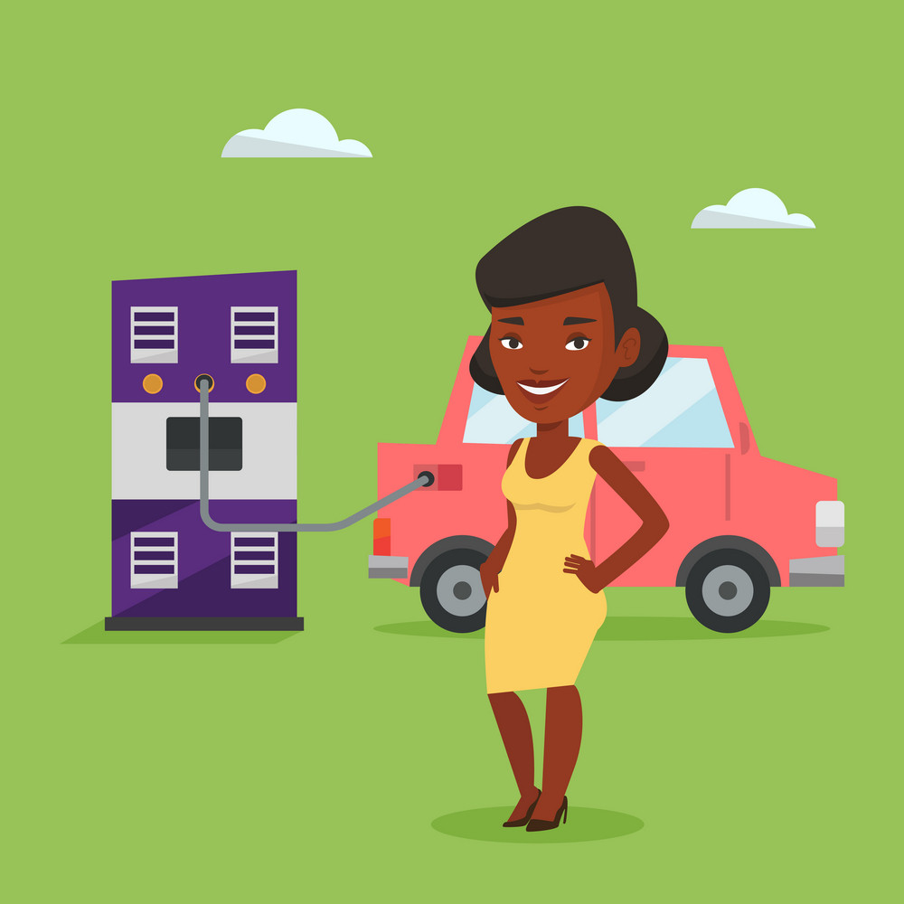 African-american woman charging electric car at charging station. Woman standing near power supply for electric car charging. Vector flat design illustration. Square layout.