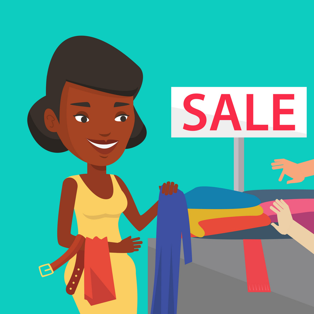 African-american woman choosing clothes in shop on sale. Happy customer buying clothes at store on sale. Young woman shopping in clothes shop on sale. Vector flat design illustration. Square layout.