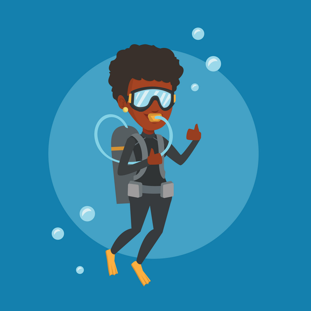 African-american woman diving with scuba and showing ok sign. Young woman in diving suit snorkeling and giving thumb up. Woman enjoying the dive. Vector flat design illustration. Square layout.