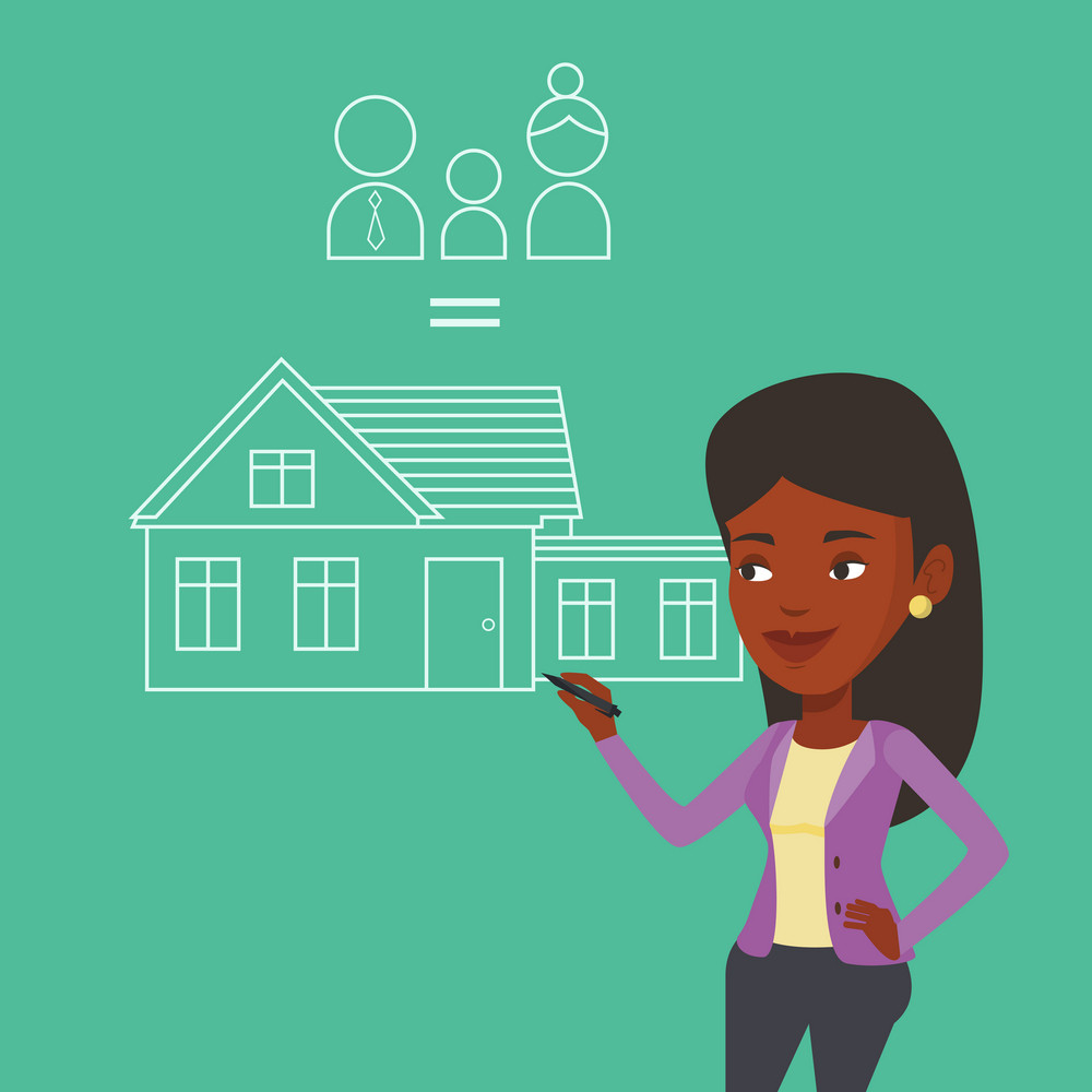 African-american woman drawing family house. Smiling woman drawing a house with a family. Happy woman dreaming about future life in a new family house. Vector flat design illustration. Square layout.