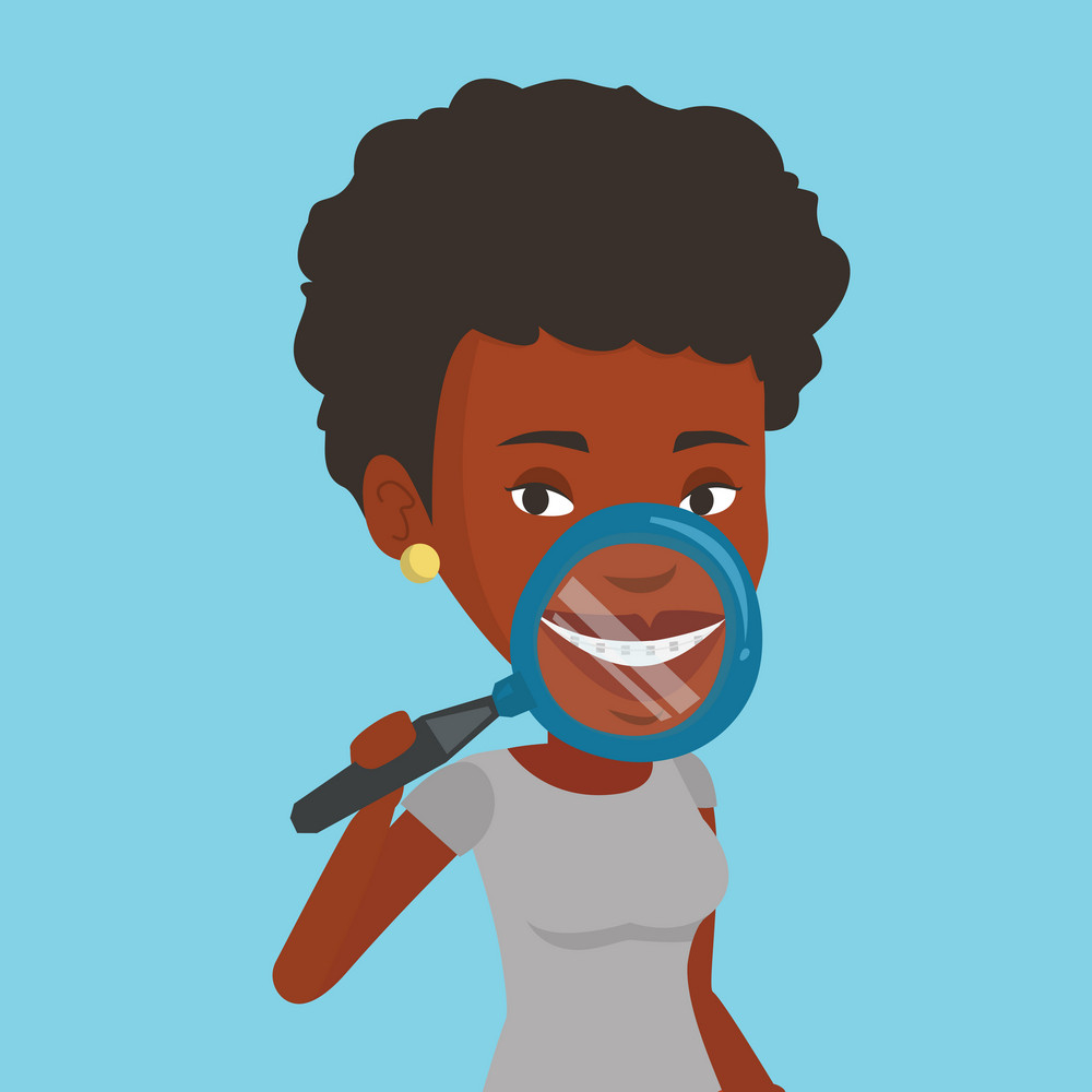 African-american woman examining her teeth with magnifier. Smiling woman holding a magnifying glass in front of her teeth. Concept of teeth examining. Vector flat design illustration. Square layout.