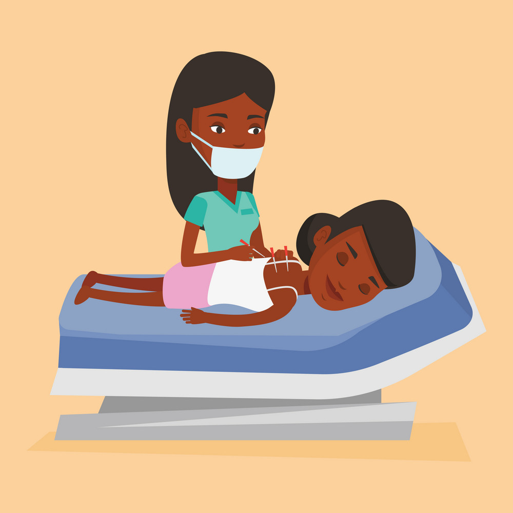 African-american woman getting acupuncture treatment in a spa center. Acupuncturist doctor performing acupuncture therapy on back of a customer at salon. Vector flat design illustration. Square layout