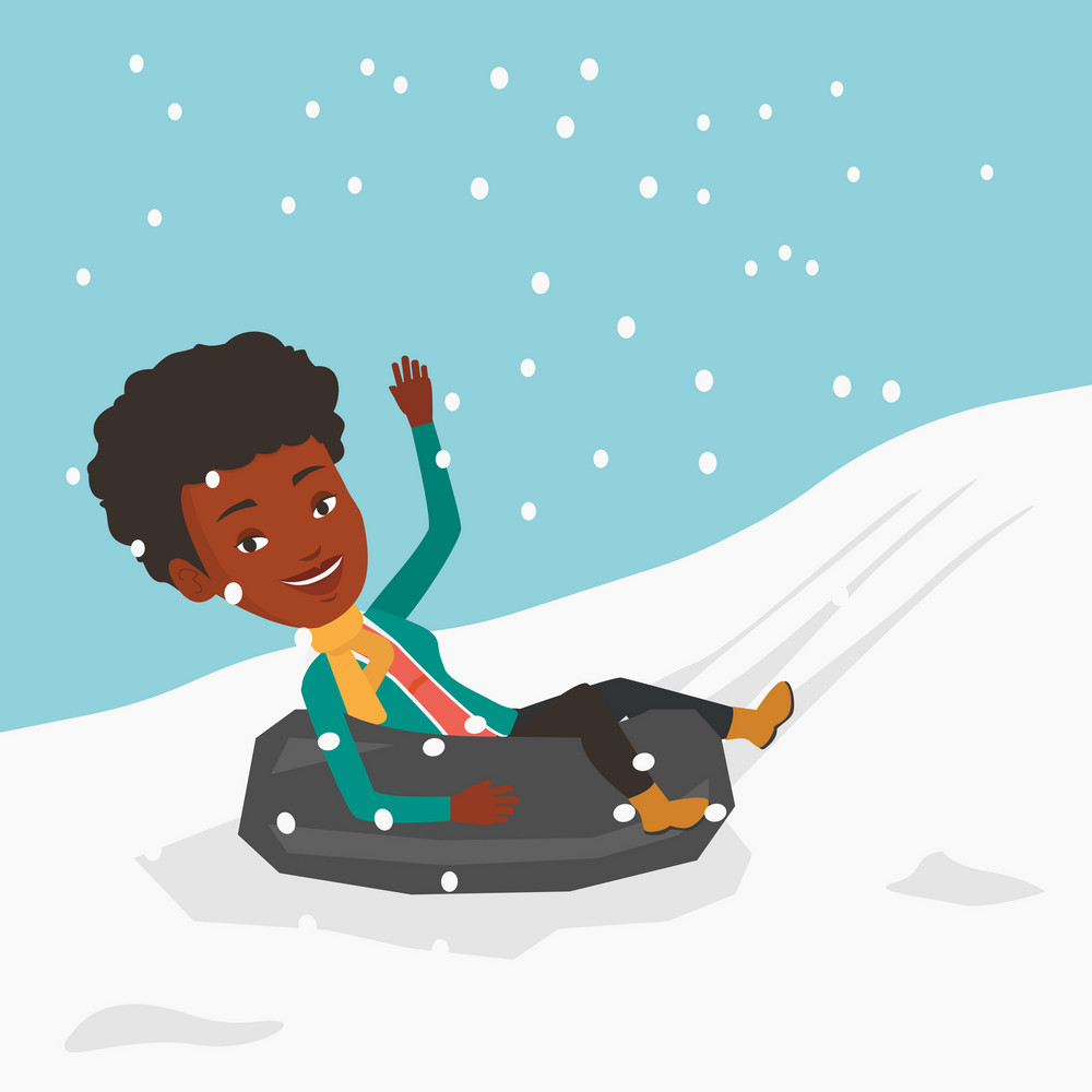 African-american woman having fun while sledding on snow rubber tube in mountains. Woman riding on snow rubber tube. Woman sitting in snow rubber tube. Vector flat design illustration. Square layout.