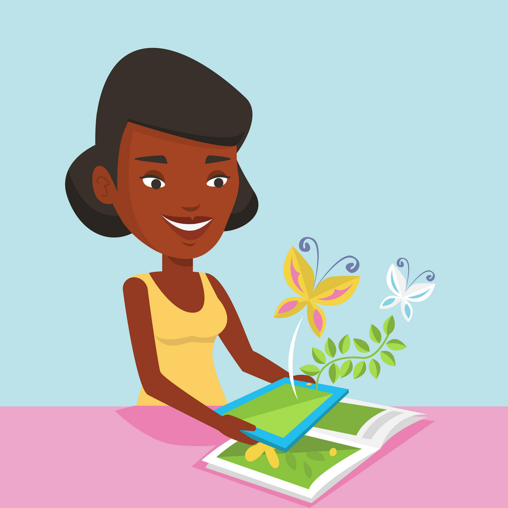 African-american woman holding digital tablet above the book. Woman looking at butterflies flying out from digital tablet. Concept of agmented reality. Vector flat design illustration. Square layout.