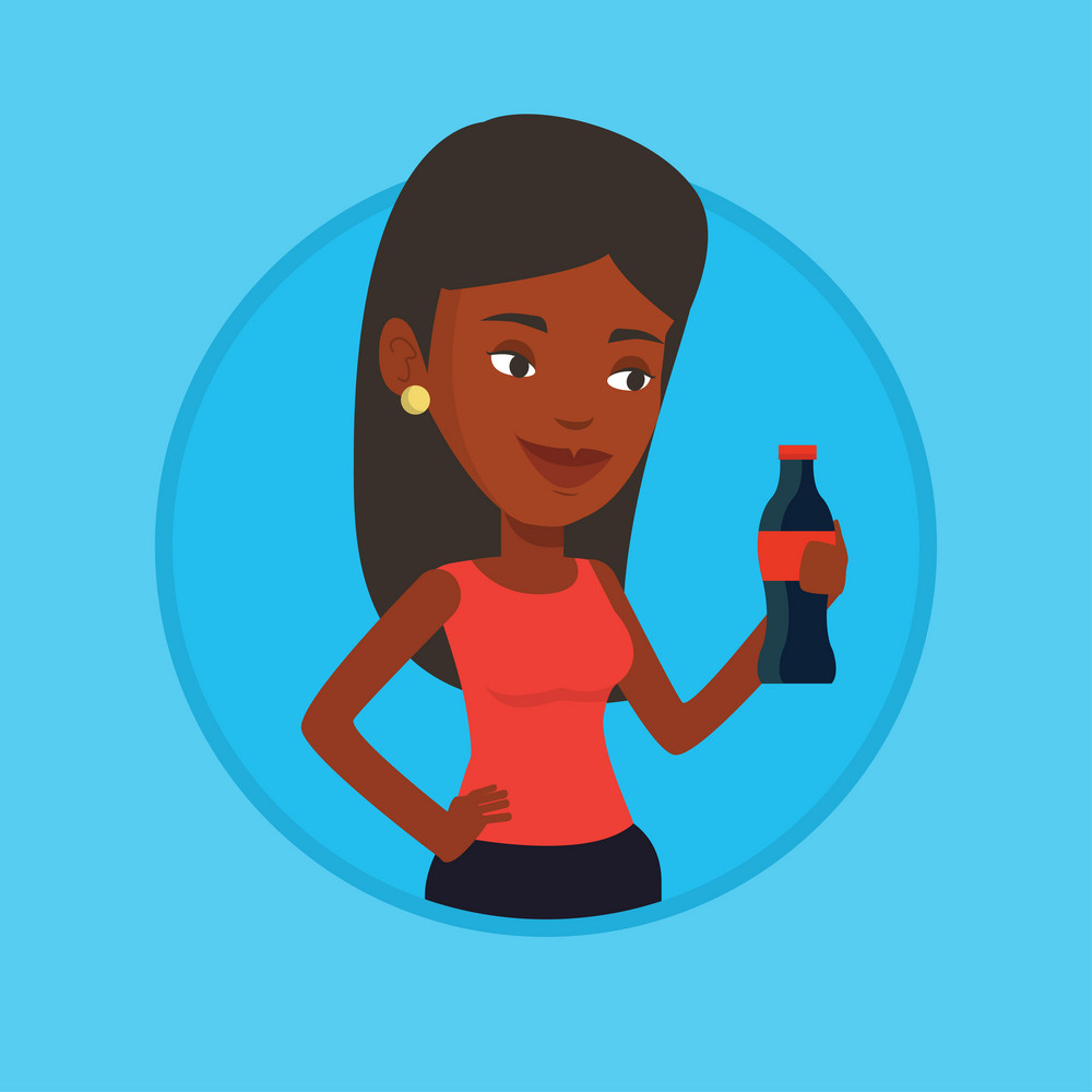 African-american woman holding fresh soda beverage in bottle. Woman standing with bottle of soda. Woman drinking soda from bottle. Vector flat design illustration in the circle isolated on background.