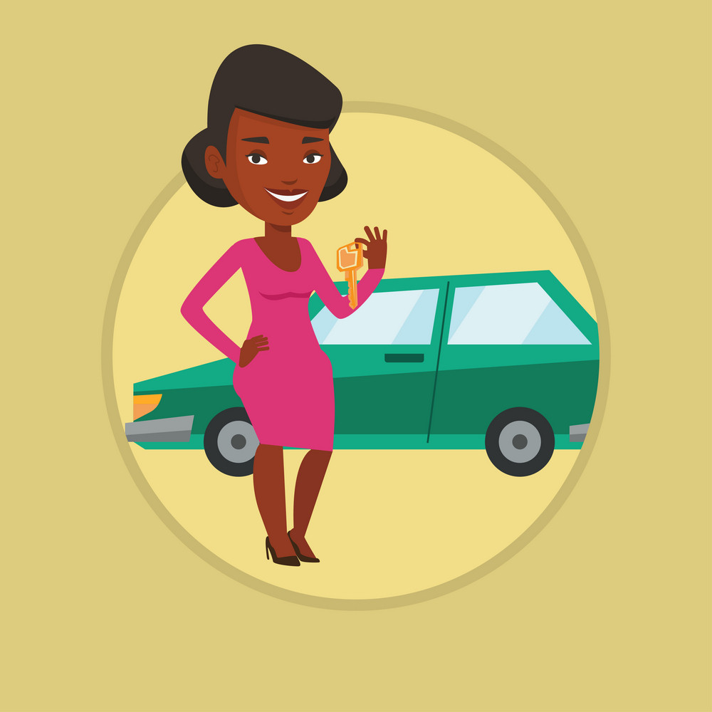 African-american woman holding keys to her new car. Woman showing key to her new car. Woman standing on the backgrond of new car. Vector flat design illustration in the circle isolated on background.