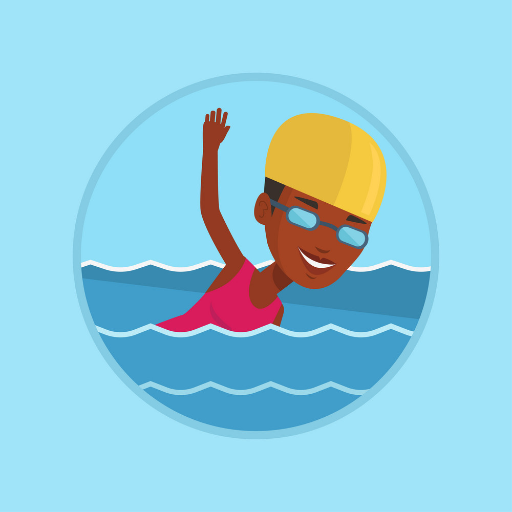 African-american woman in cap and glasses swimming in pool. Young swimmer in swimming pool. Woman swimming forward crawl style. Vector flat design illustration in the circle isolated on background.