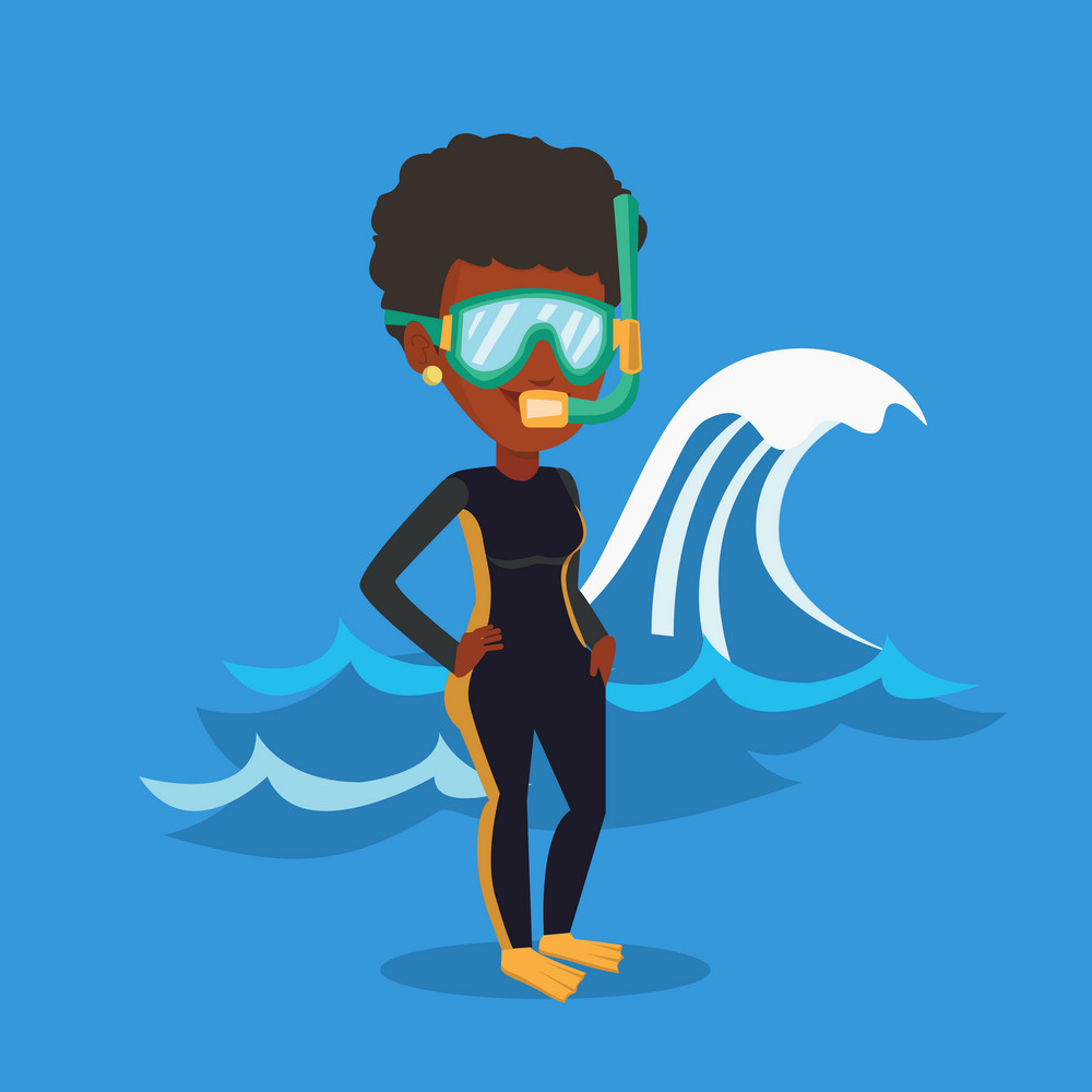 African-american woman in diving suit, flippers, mask and tube standing on the background of wave. Diver enjoying snorkeling. Diver ready for snorkeling. Vector flat design illustration. Square layout