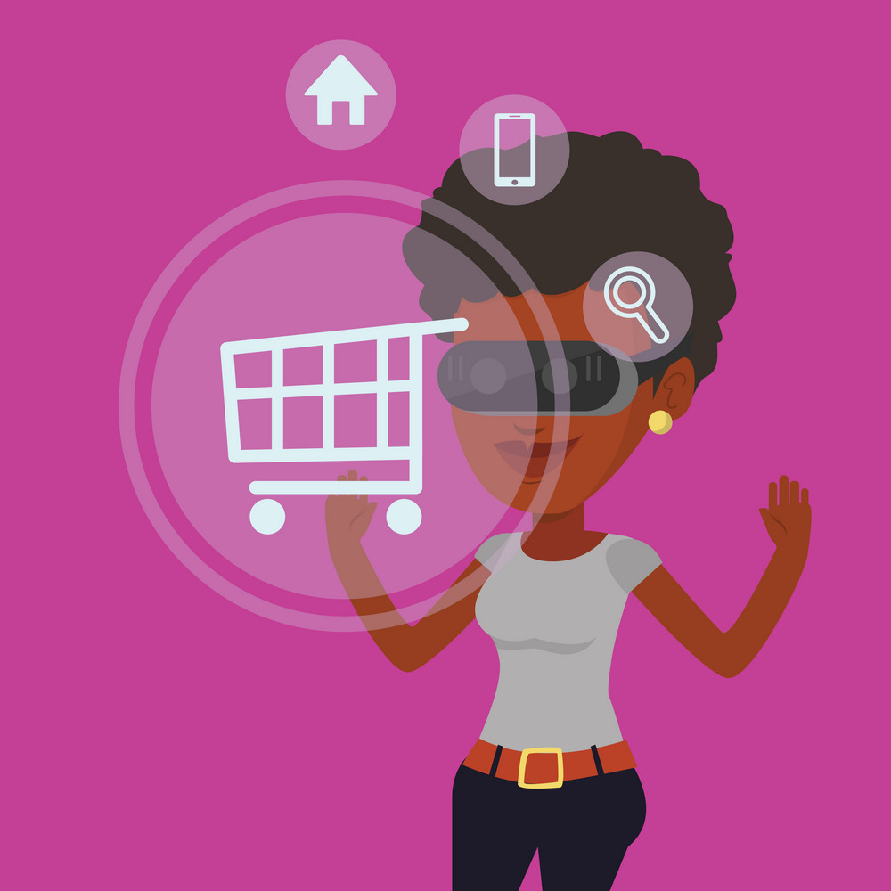 African-american woman in virtual reality headset looking at shopping cart icon. Girl doing online shopping. Virtual reality and shopping online concept. Vector flat design illustration. Square layout