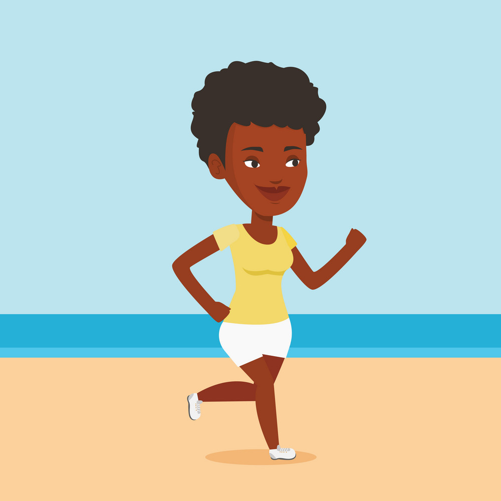 African-american woman jogging on the beach. Sporty girl running on the beach. Woman running along the seashore. Fit woman enjoying jogging on beach. Vector flat design illustration. Square layout.