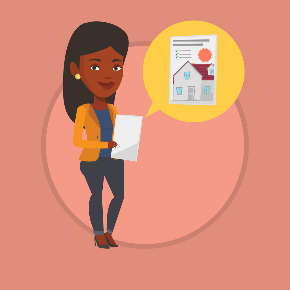 African-american woman looking at photo of a house on a tablet computer. Woman seeking for appropriate house on a tablet computer. Vector flat design illustration in the circle isolated on background.