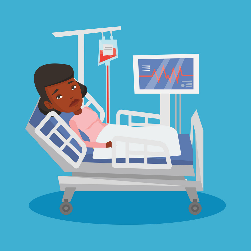 African-american woman lying in bed in hospital. Patient resting in hospital bed with heart rate monitor. Patient during blood transfusion procedure. Vector flat design illustration. Square layout.