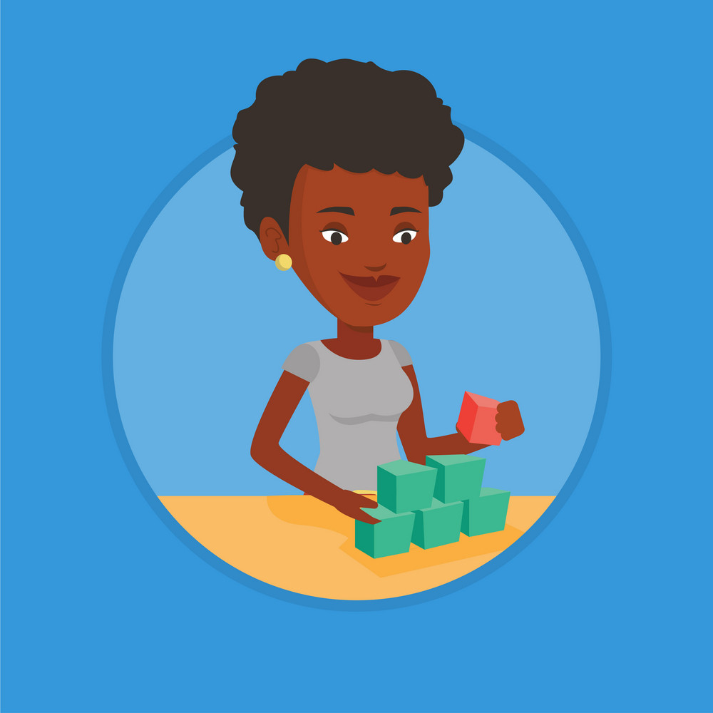 African-american woman making pyramid of network avatars. Woman building her social network. Networking and communication concept. Vector flat design illustration in the circle isolated on background.