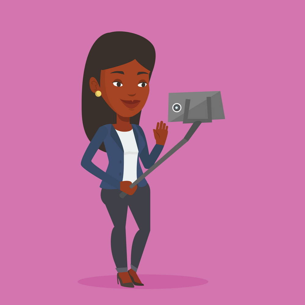 African-american woman making selfie with a selfie-stick. Smiling woman making selfie with cellphone. Young woman taking selfie and waving her hand. Vector flat design illustration. Square layout.