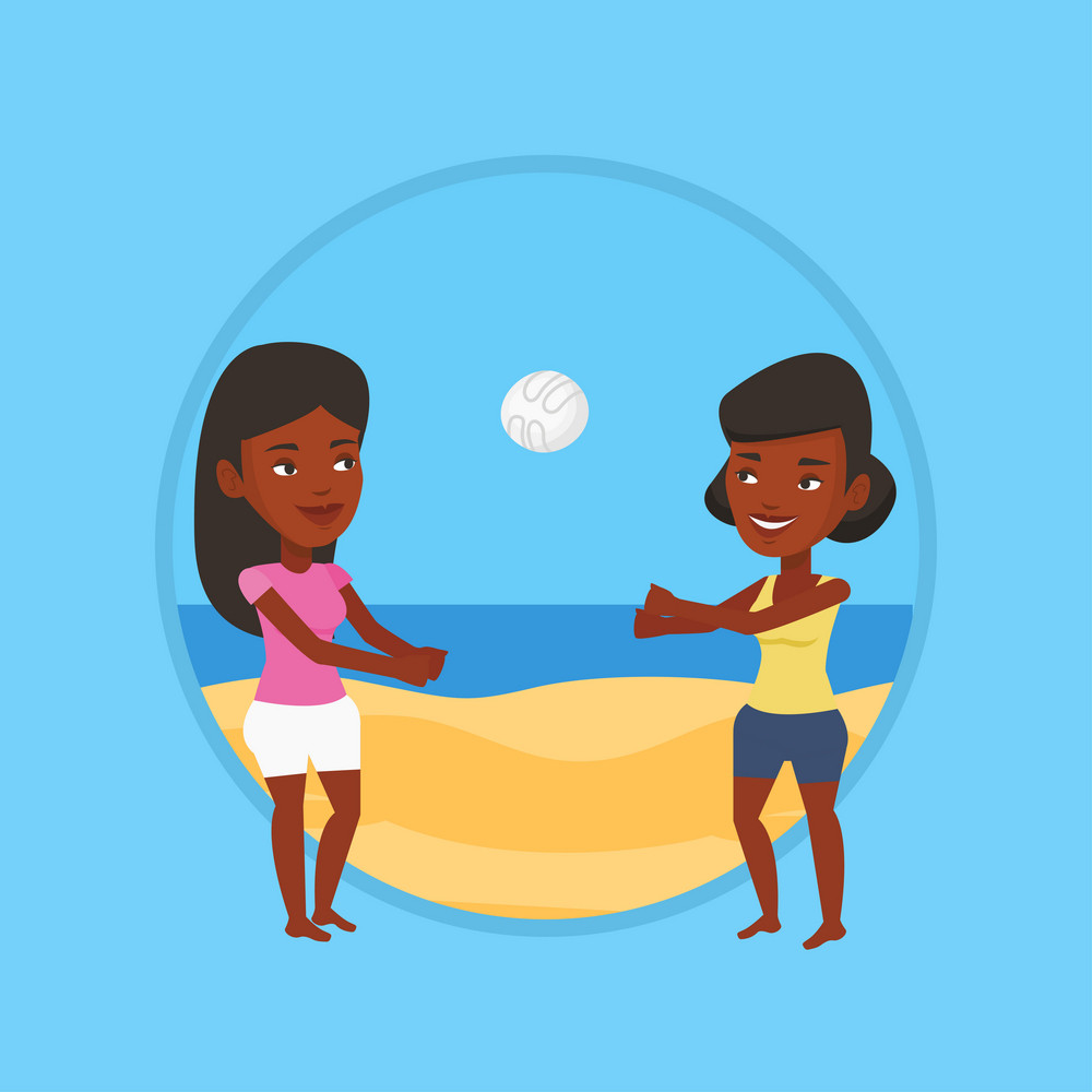 African-american woman playing beach volleyball with her friend. African-american women having fun while playing beach volleyball. Vector flat design illustration in the circle isolated on background.