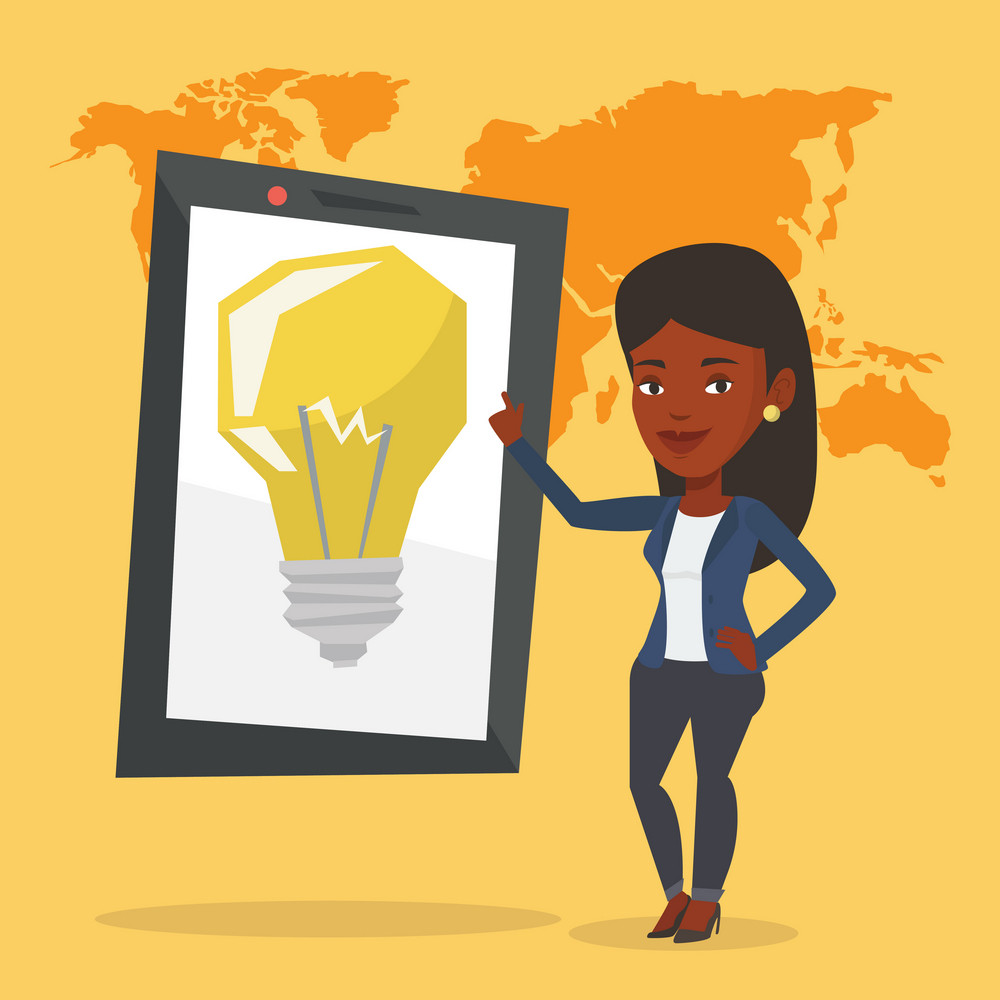 African-american woman pointing at a big tablet computer with idea light bulb on a screen. Busines woman standing near tablet computer with idea bulb. Vector flat design illustration. Square layout.