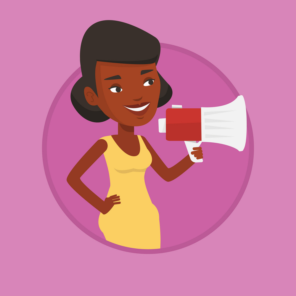 African-american woman promoter holding a megaphone. Young woman promoter speaking into megaphone. Social media marketing concept. Vector flat design illustration in the circle isolated on background.