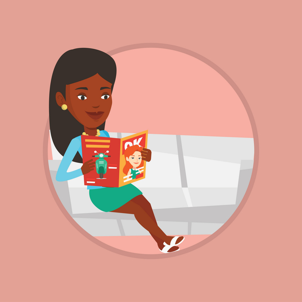 African-american woman reading a magazine. Woman sitting on a sofa and reading a magazine. Woman sitting on couch with magazine. Vector flat design illustration in the circle isolated on background.