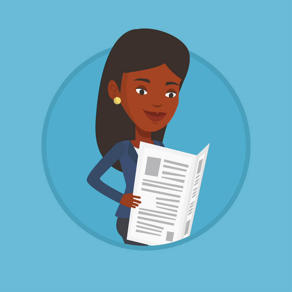 African-american woman reading the newspaper. Young woman reading good news in newspaper. Woman standing with newspaper in hands. Vector flat design illustration in the circle isolated on background.