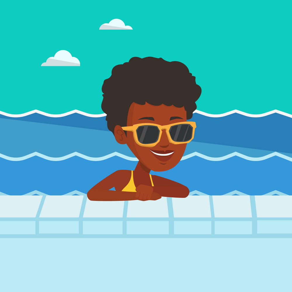 African-american woman relaxing in swimming pool at resort. Young woman bathing in swimming pool. Woman swimming and relaxing in pool on summer vacation. Vector flat design illustration. Square layout
