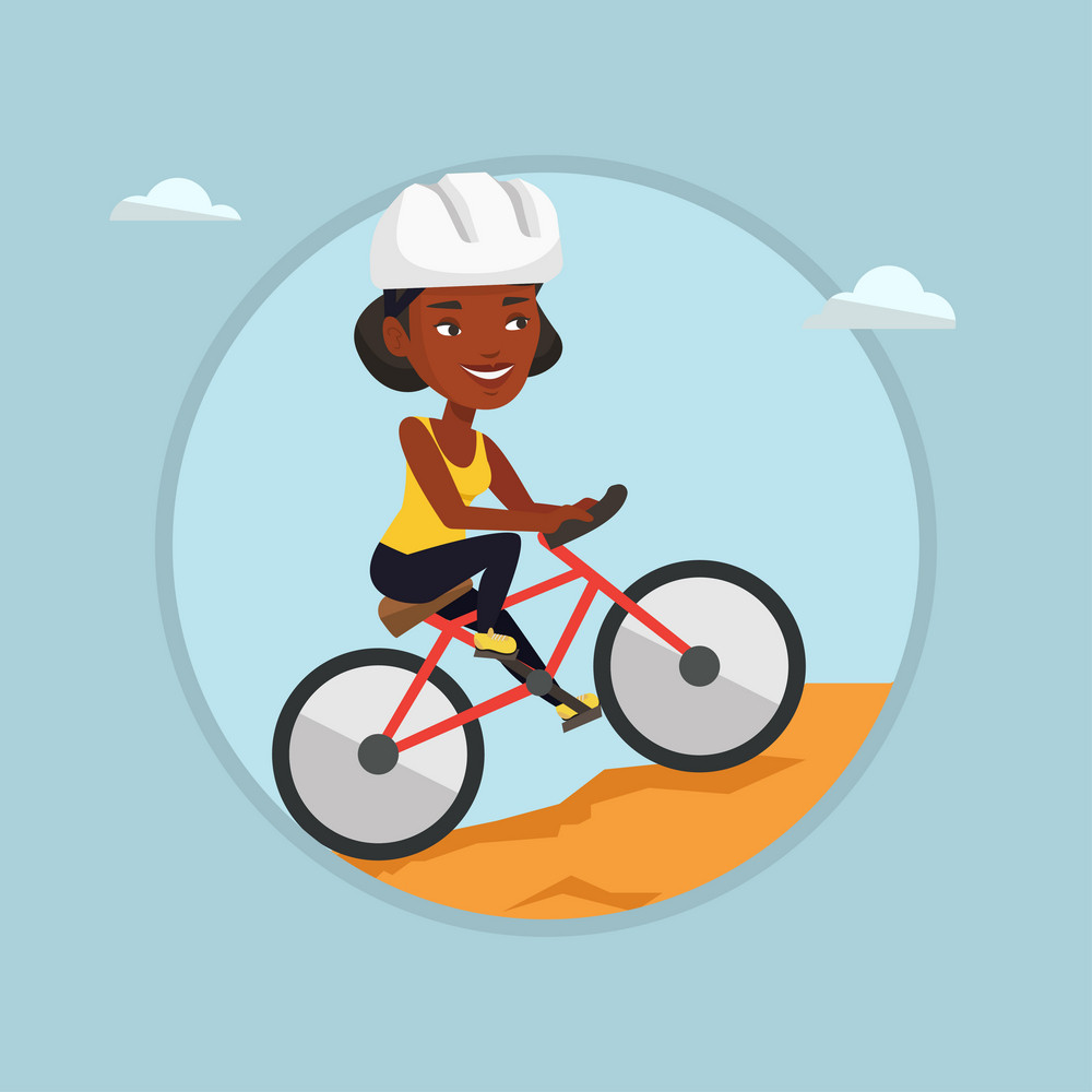 African-american woman riding on mountain bike. Young female tourist in helmet traveling in the mountains on a mountain bike. Vector flat design illustration in the circle isolated on background.