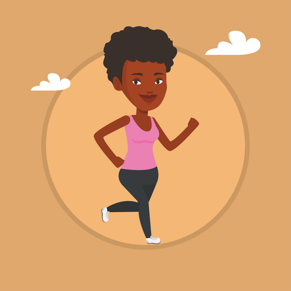African-american woman running. Young woman jogging. Full length of a smiling woman running. Sportswoman in sportswear running. Vector flat design illustration in the circle isolated on background.