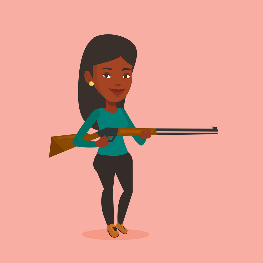 African-american woman shooting skeet with shotgun. Hunter ready to hunt with hunting rifle. Woman aiming with a hunter gun. Hunter holding a long rifle. Vector flat design illustration. Square layout