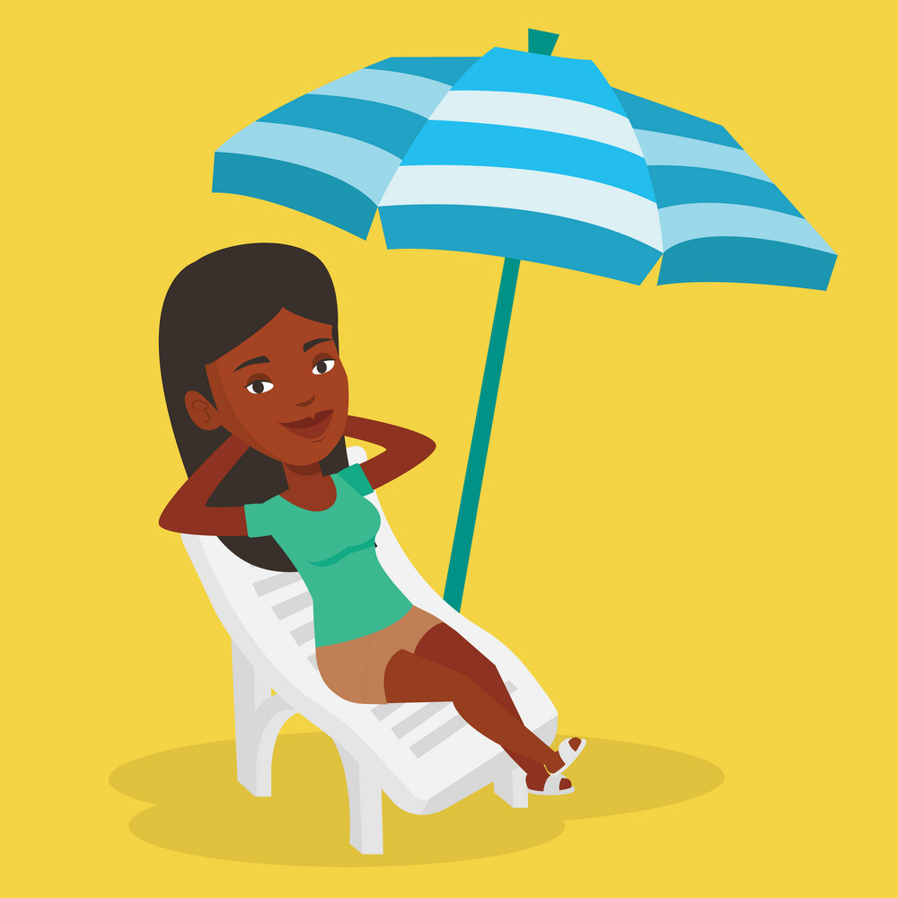 African-american woman sitting in a beach chair. Woman resting on holiday while sitting under umbrella on a beach chair. Woman relaxing on a beach chair. Vector flat design illustration. Square layout