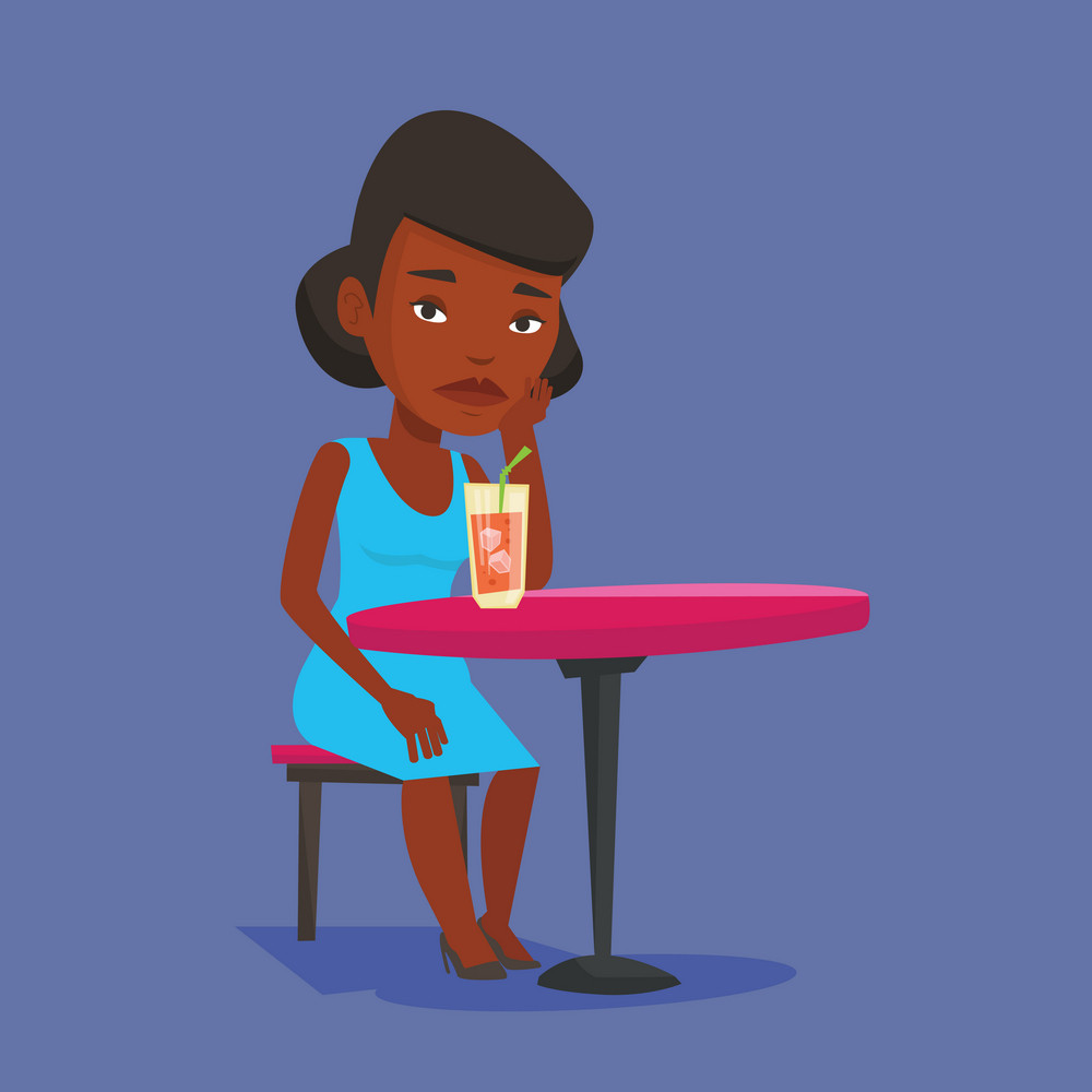African-american woman sitting in bar and drinking cocktail. Sad woman sitting alone in bar with cocktail on the table. Woman drinking cocktail in bar. Vector flat design illustration. Square layout.