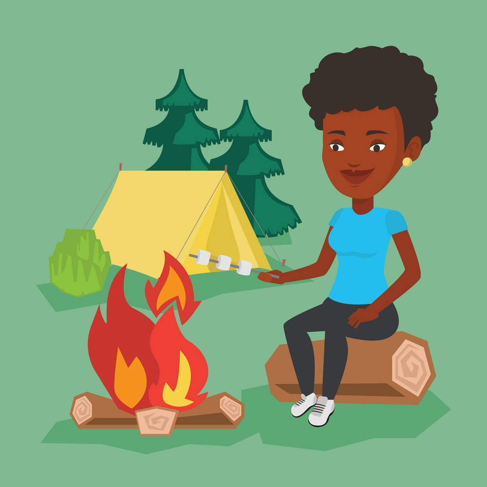 African-american woman sitting near campfire. Woman roasting marshmallow over campfire. Tourist relaxing near campfire on the background of camping site. Vector flat design illustration. Square layout