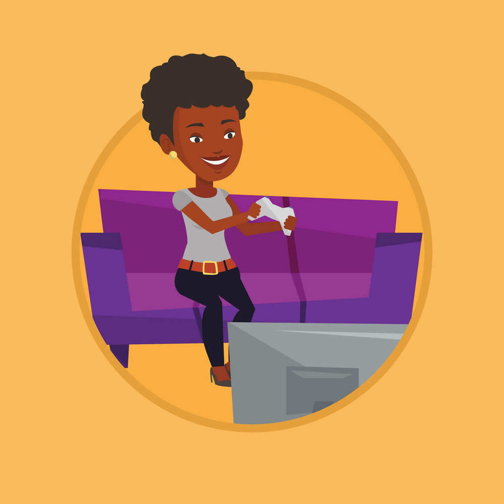 African-american woman sitting on a sofa and playing video game on the television. Woman with console in hands playing video game. Vector flat design illustration in the circle isolated on background.