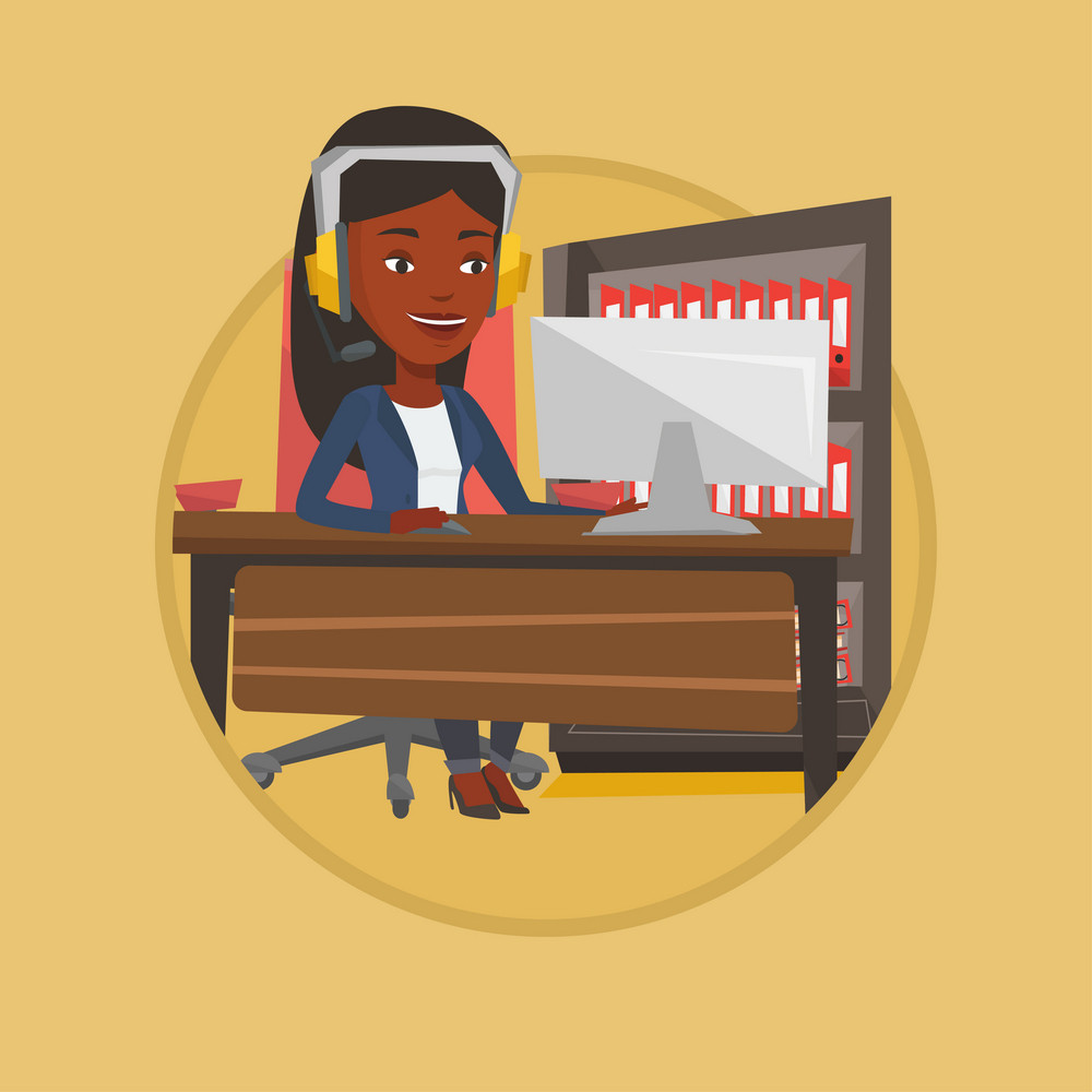 African-american woman using computer for playing games. Woman in headphones playing online games. Woman playing computer game. Vector flat design illustration in the circle isolated on background.
