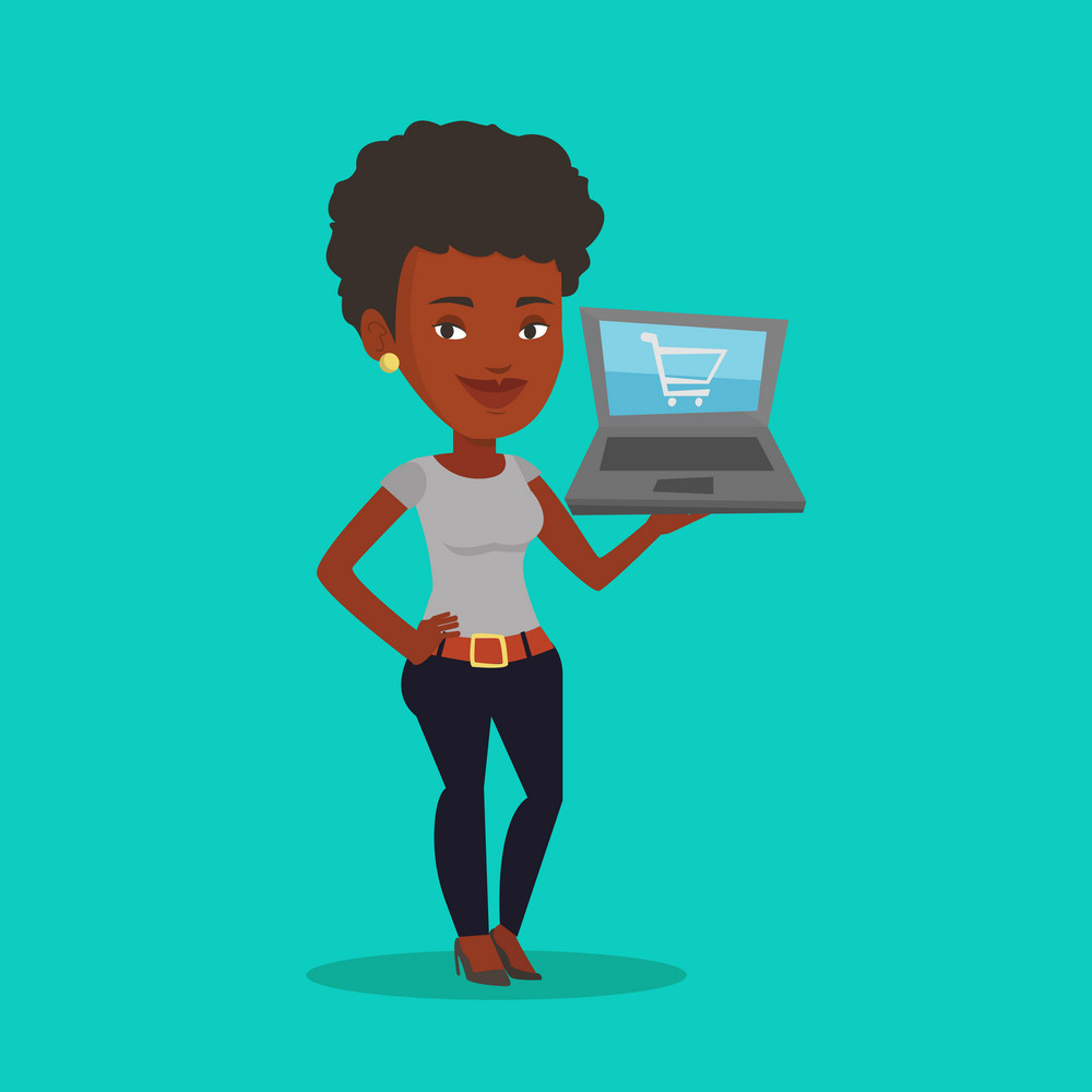African-american woman using laptop for online shopping. Female customer holding laptop with shopping trolley on a screen. Woman doing online shopping. Vector flat design illustration. Square layout.