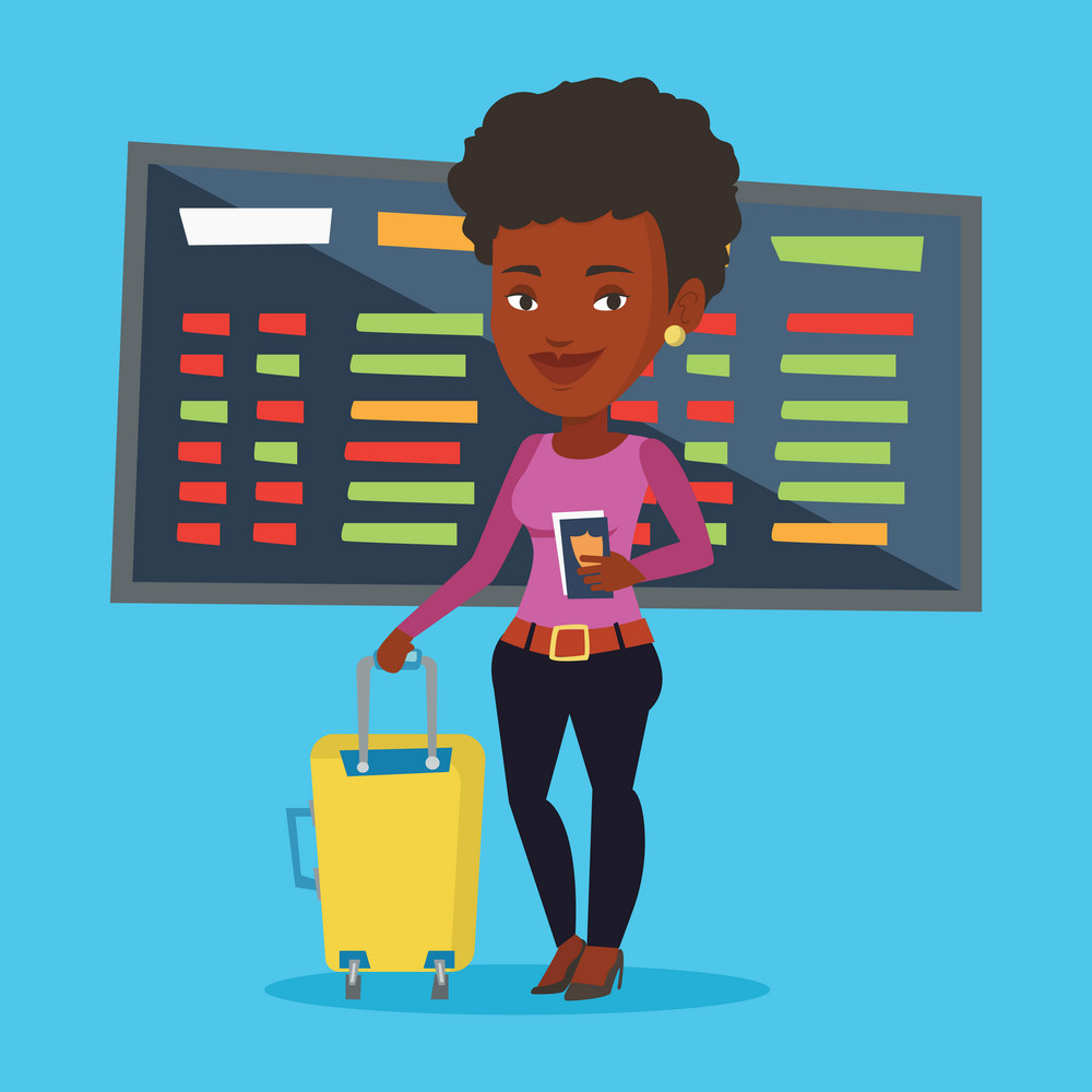 African-american woman waiting for a flight at the airport. Passenger holding passport and airplane ticket. Woman with suitcase standing at the airport. Vector flat design illustration. Square layout.