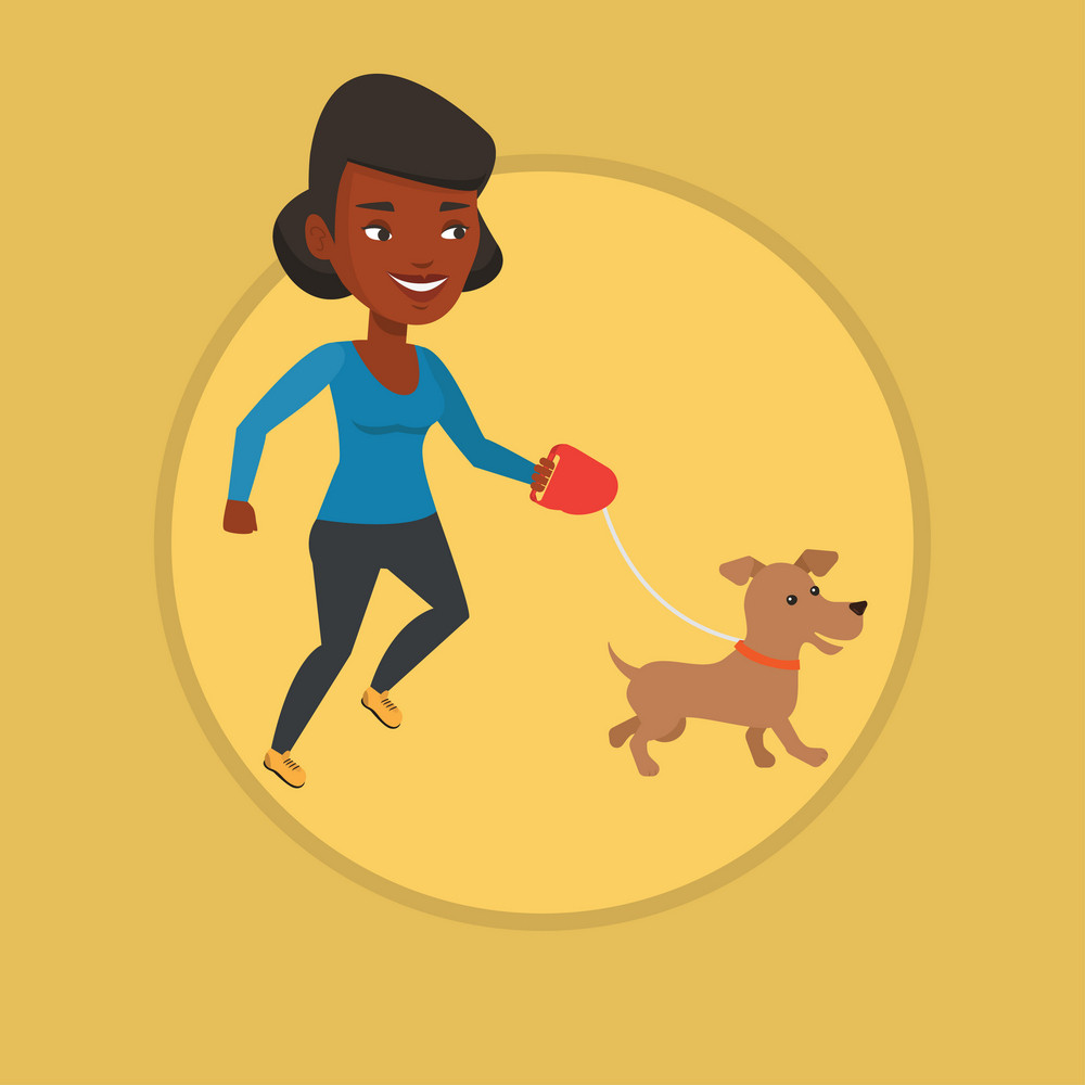 African-american woman walking with her small dog. Young woman with her dog. Woman taking dog on walk. Girl walking a dog on leash. Vector flat design illustration in the circle isolated on background