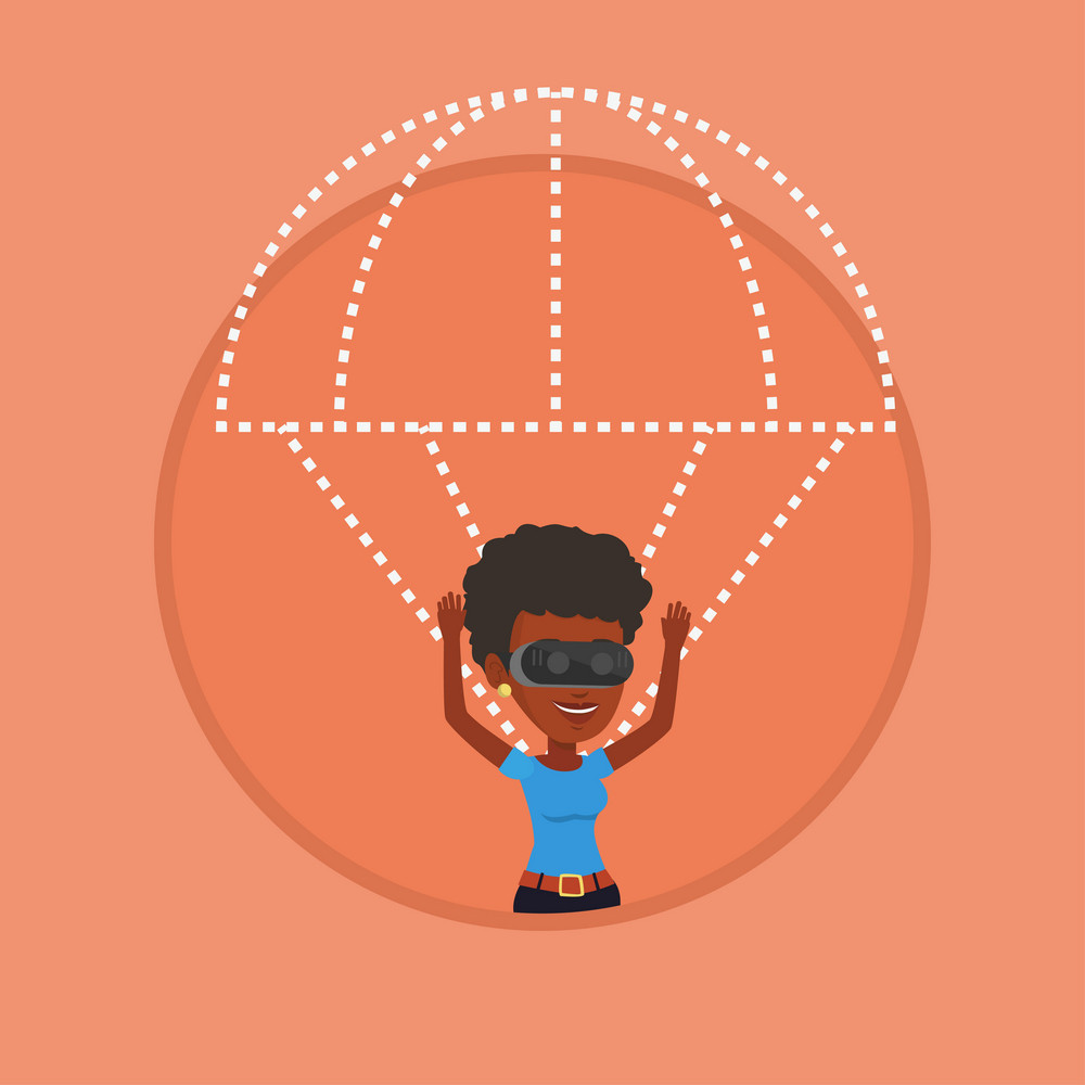African-american woman wearing virtual reality glasses and flying with parachute. Woman in vr headset flying in virtual reality. Vector flat design illustration in the circle isolated on background.