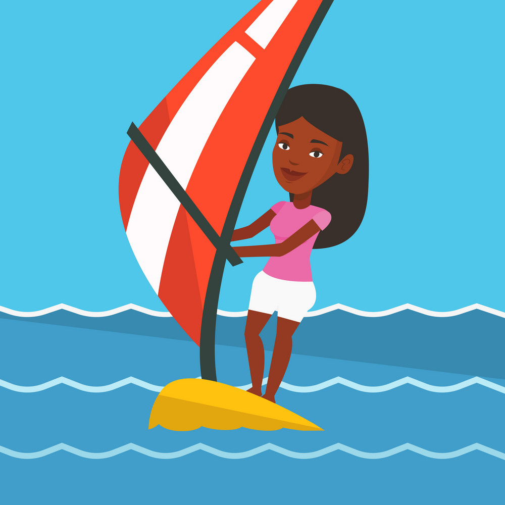 African-american woman windsurfing in a summer day. Windsurfer standing on board with sail and learning to windsurf. Windsurfer training on the water. Vector flat design illustration. Square layout.