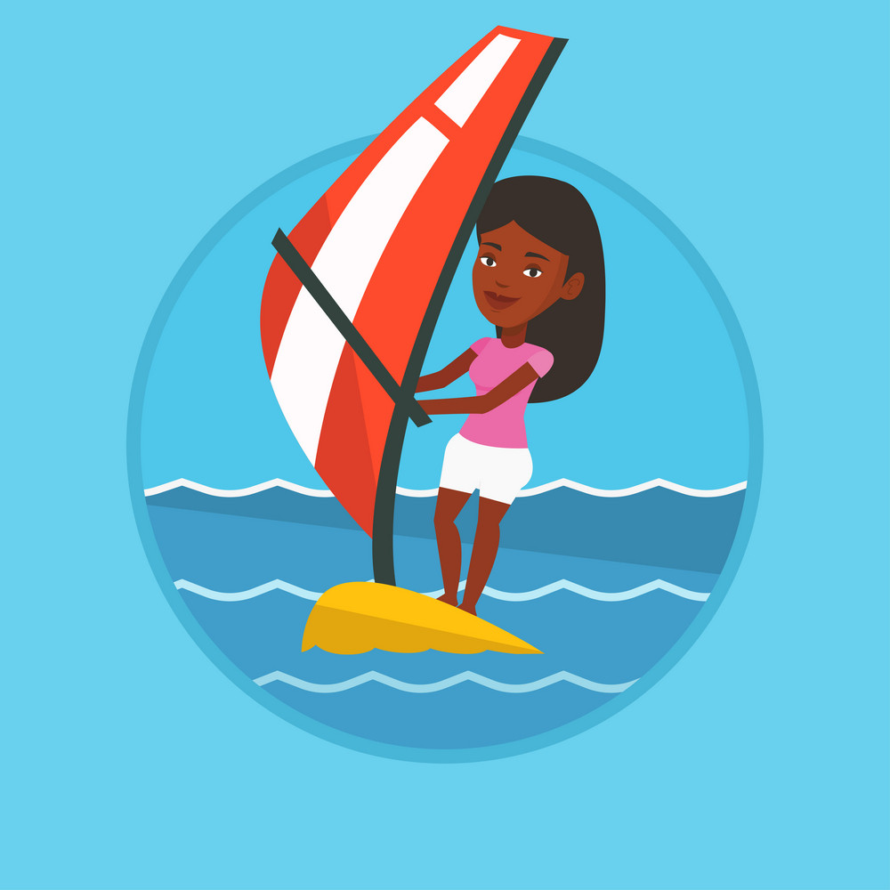 African-american woman windsurfing. Woman standing on board with sail and learning to windsurf. Windsurfer training on the water. Vector flat design illustration in the circle isolated on background.