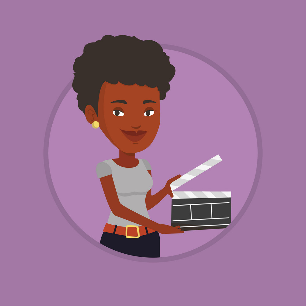 African-american woman working with a clapperboard. Woman holding an open clapperboard. Woman holding blank movie clapperboard. Vector flat design illustration in the circle isolated on background.