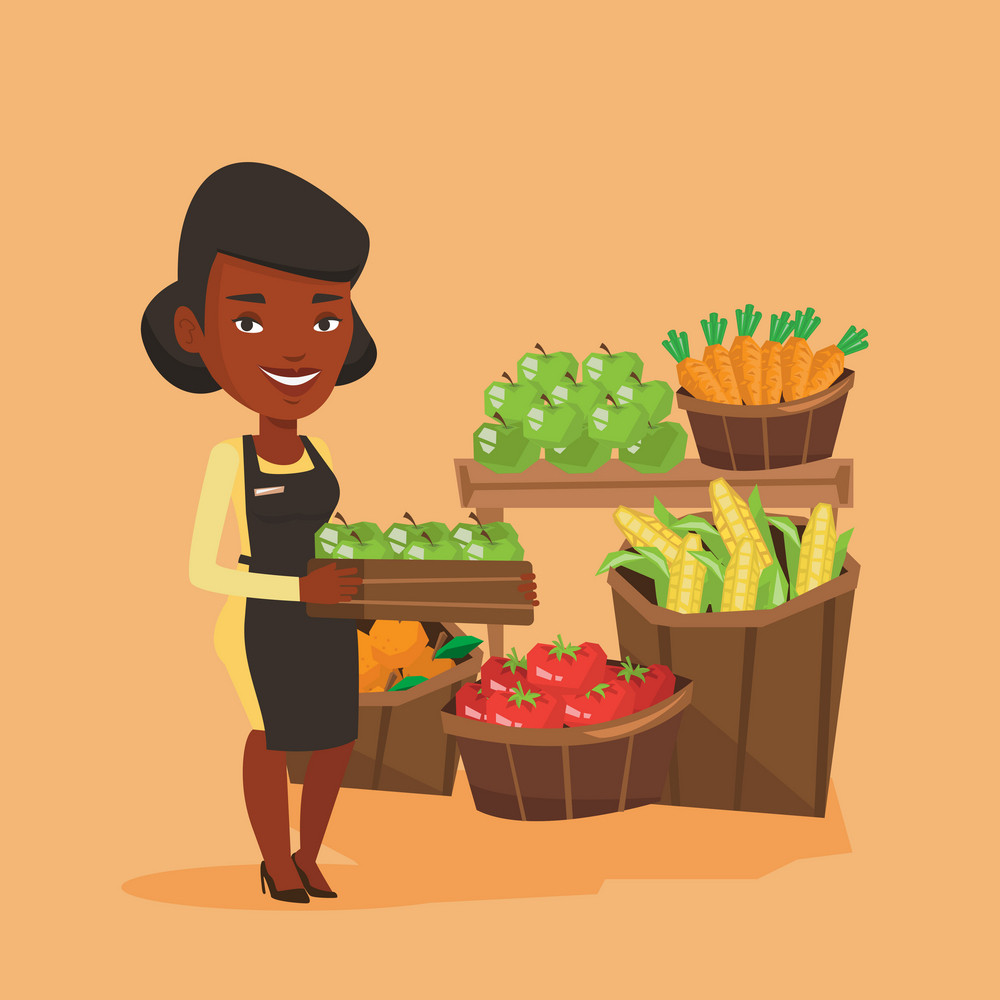 African-american worker of grocery store standing in front of section with vegetables and fruits. Worker of grocery store holding a box with apples. Vector flat design illustration. Square layout.