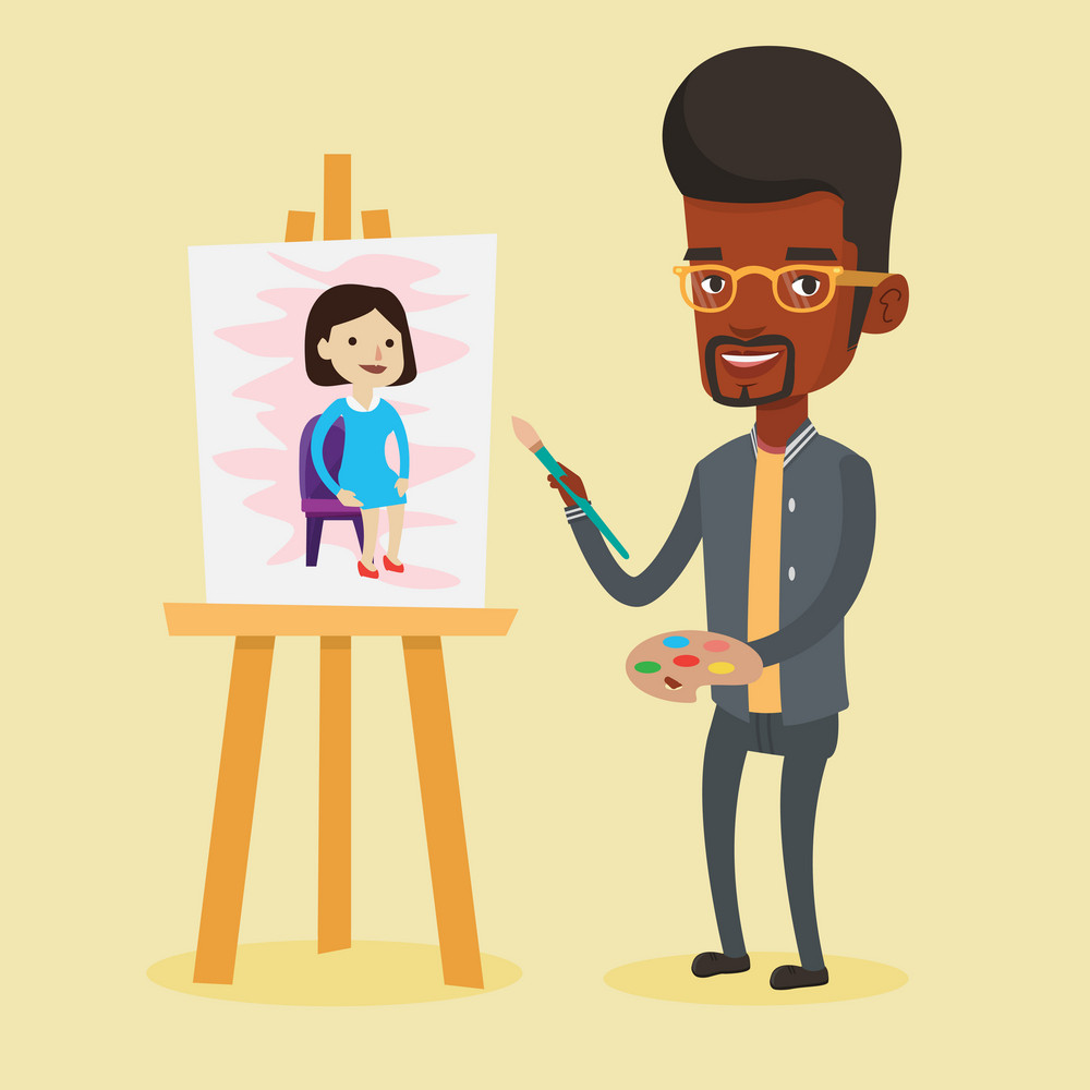 African-american young artist painting a female model on canvas. Creative smiling male artist drawing on an easel. Cheerful artist working on painting. Vector flat design illustration. Square layout.