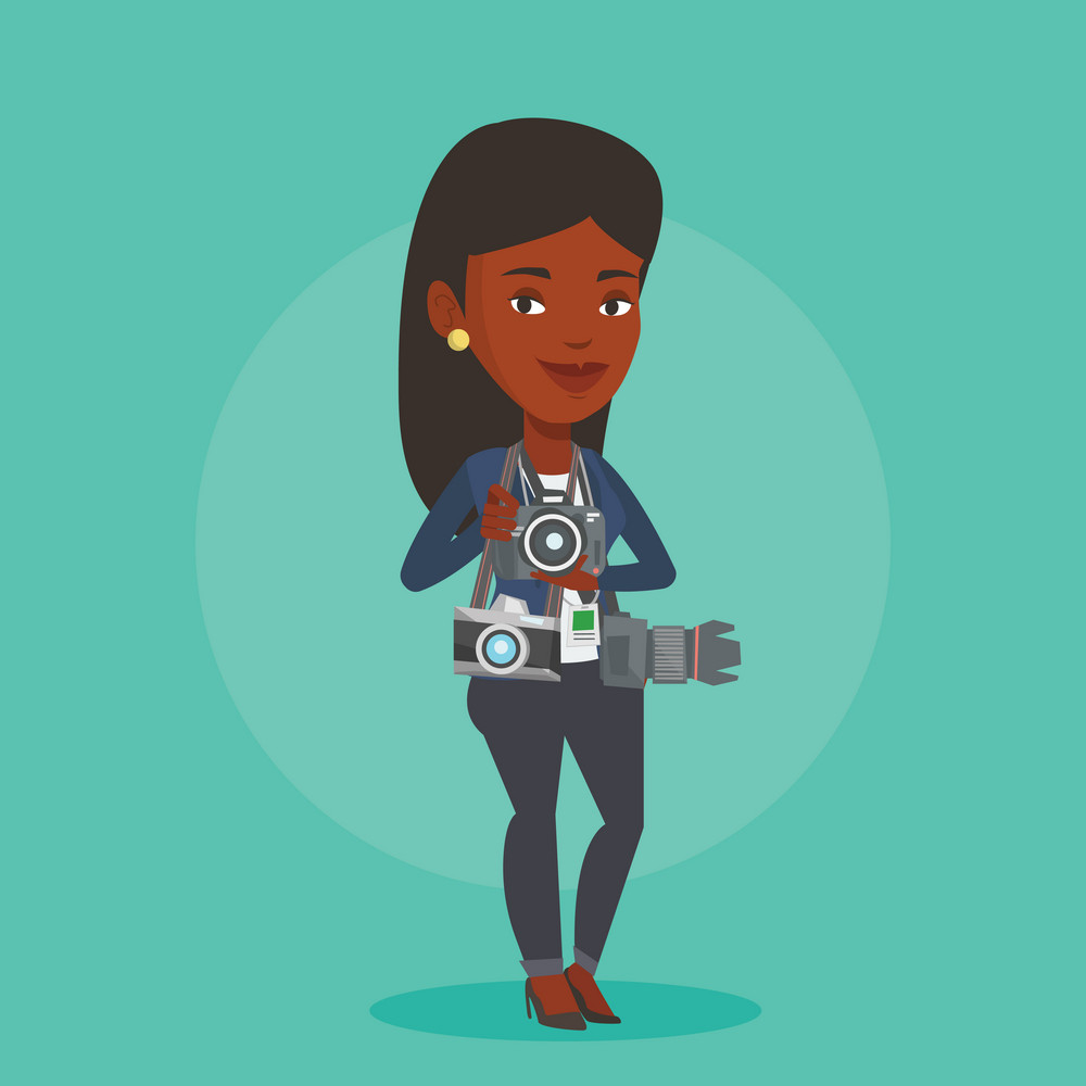 African-american young female photographer with many photo cameras equipment. Female paparazzi with many cameras. Journalist working with many cameras. Vector flat design illustration. Square layout.