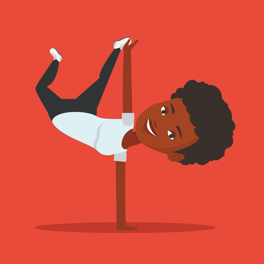 African-american young woman showing her skills in break dance. Happy break dance dancer doing handstand. Young woman dancing. Strong woman breakdancing. Vector flat design illustration. Square layout