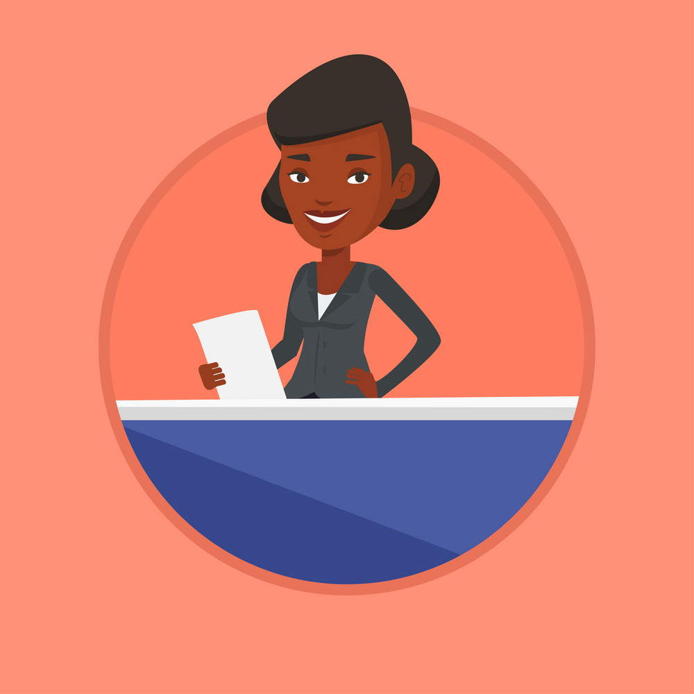 African anchorwoman at studio during live broadcasting. Television anchorwoman working at studio. Anchorwoman reporting tv news. Vector flat design illustration in the circle isolated on background.