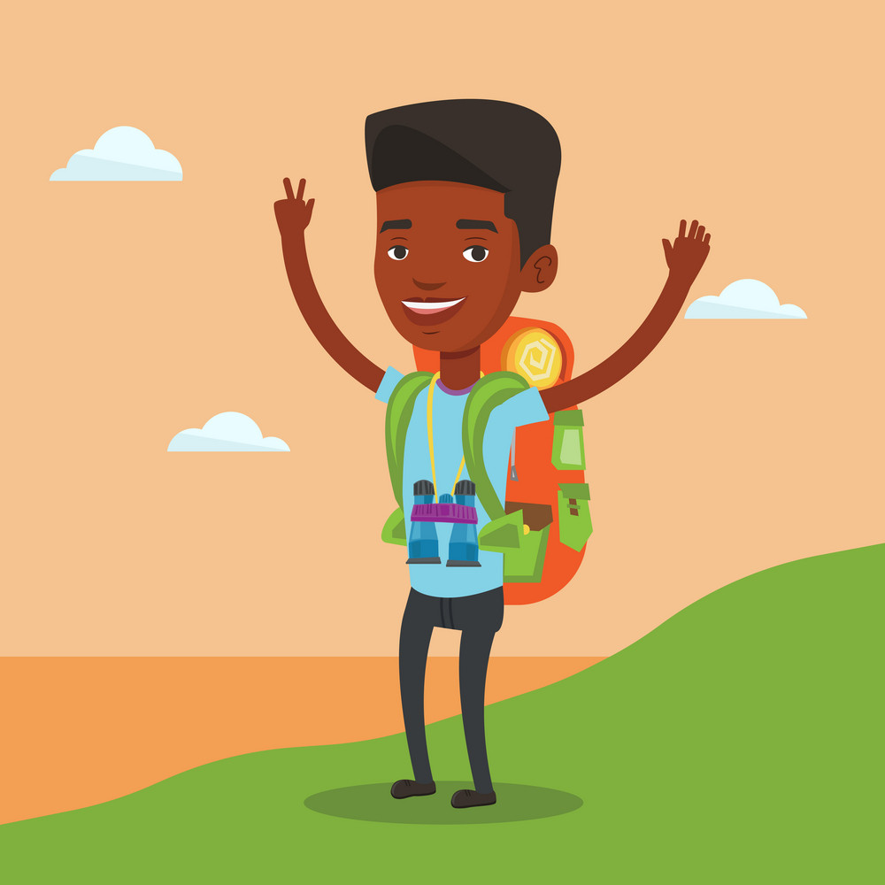 African backpacker with backpack and binoculars standing on the cliff and celebrating success. Happy backpacker with raised hands enjoying the scenery. Vector flat design illustration. Square layout.