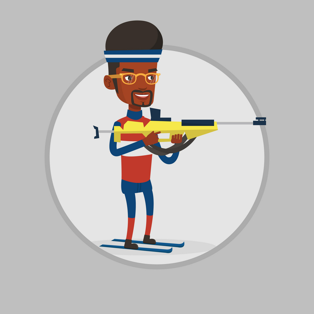 African biathlon runner aiming at the target. Sportsman taking part in ski biathlon competition. Biathlon shooter with a weapon. Vector flat design illustration in the circle isolated on background.