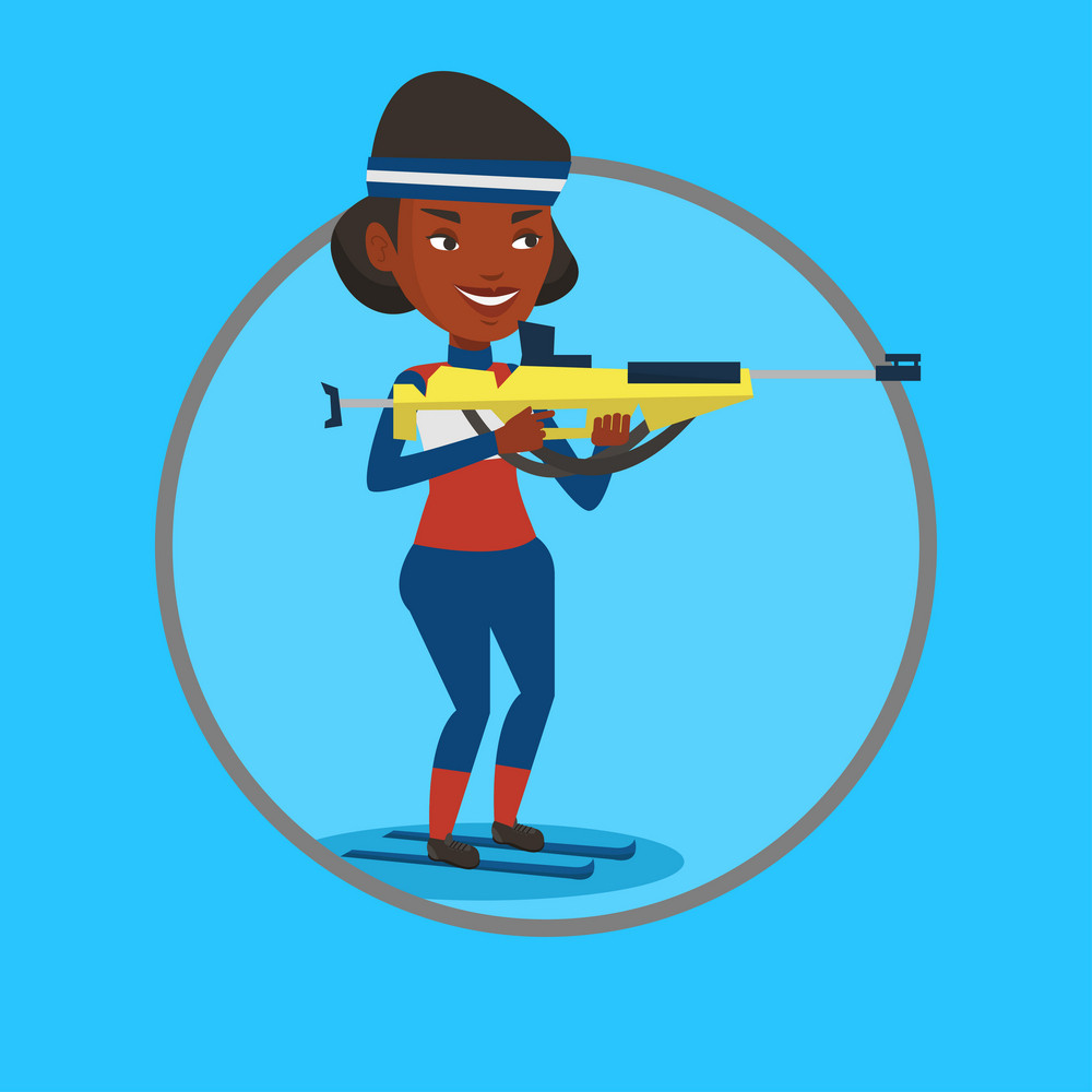 African biathlon runner aiming at the target. Sportswoman taking part in ski biathlon competition. Biathlon shooter with a weapon. Vector flat design illustration in the circle isolated on background.