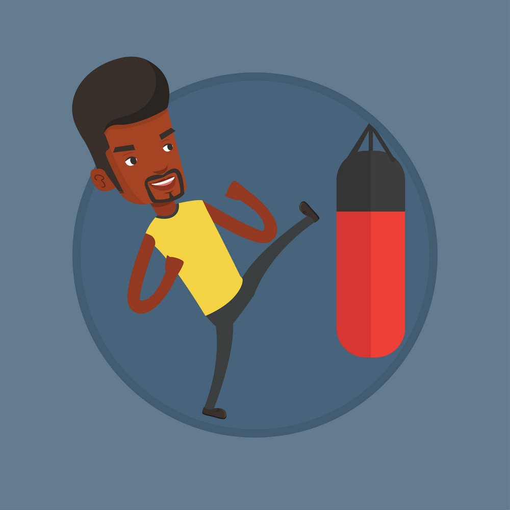 African boxer man exercising with punching bag. Boxer hitting punching bag during training. Boxer training with punching bag. Vector flat design illustration in the circle isolated on background.